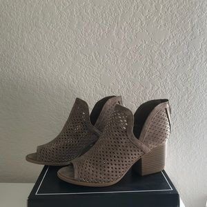 Qupid Core-27 Dark Taupe Perforated Ankle Bootie